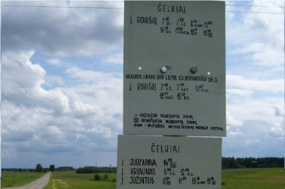 Bus Stop Sign For The Village of Čelkiai, near Rokiškis, Lithuania