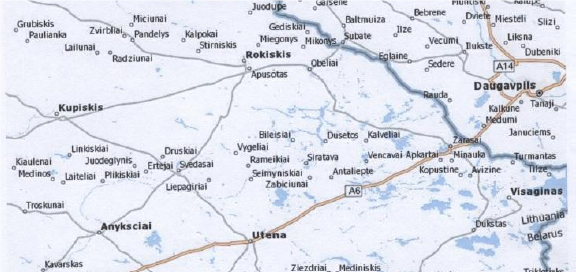 Map Showing Kupisik (Kupiškis), Ponedel (Pandėlys), and Rakisik (Rokiškis), Lithuania; Kamai (Kamajai) (not shown), is 7 miles southwest of Rakisik on the road to Anykščiai